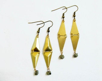 Triangle Geometric Earrings with Pyrite Nuggets - Pyramid Earrings - Your Choice