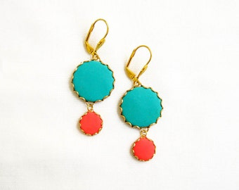 Polymer Clay Statement Earrings, Blue Red Earrings, Colorful Earrings, Dangle Earrings