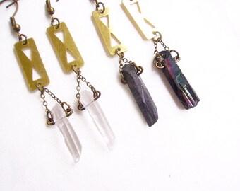 Geometric  Quartz Earrings, Black Titanium Quartz or Clear Quartz earrings - Your Choice