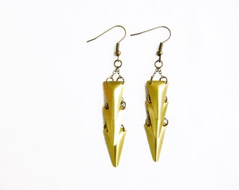 Arrow Dangle Earrings, Pyramid Triangle Brass Earrings-