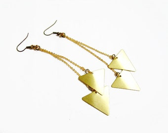 Triangle Geometric Earrings - Minimalist Arrow Handmade Earrings, Raw Brass Geometric Earrings