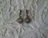 Vintage Dainty Silvertone Dangling Floret with Clear Rhinestone Center Earrings