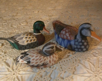 Collectible Three Vintage Painted Wood Ducks from Republic of China