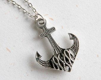 Anchor Necklace (N341) in vintage silver color