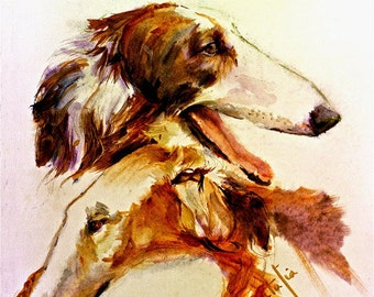 Borzois- Russian Wolfhounds.  Watercolor fine art dog print signed by the artist Carol Ratafia double matted to 10x12