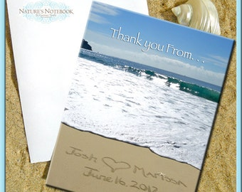 Wedding Custom Thank You Notes -folded 5x7 cards. Your names written in real beach sand.