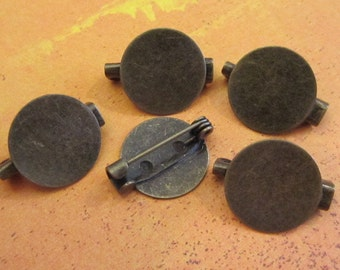 5 - Antique Bronze - Brooch Pad Blanks  (ABBPB)