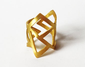 gold statement ring - 24K gold plated bronze ring -  statement ring - adjustable ring
