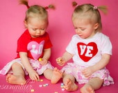 Valentine's Day LO-VE Twin Set bodysuits in red or pink, Great Shower gift for TWINS, Sisters or siblings, in bodysuits or t-shirts