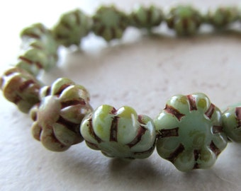 Czech Glass Beads 8mm Carved Delicate 8 Petal Avocado Green Flower Buttons - 20 Pieces