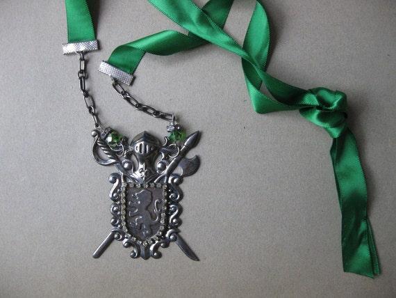 Guinevere's Crest Necklace-Satin Ribbon Closure