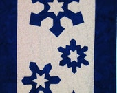 Quilted Winter Snowflake Table Runner Cobalt Blue and White