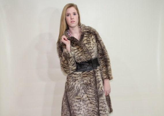 SALE 60s LILLI ANN Coat Faux Fur Animal Print Tiger Medium M Jacket Vintage 1960s Mod