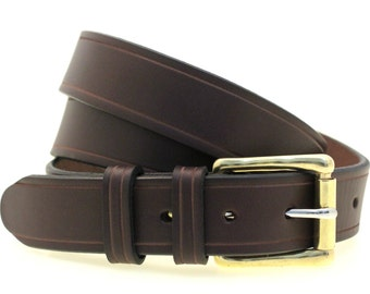 "Made In USA Men's 1 1/4"" Dark Brown English Bridle Leather Belt With Saddle Groove Double Loop Solid Brass Roller Buckle Nickel-Free"