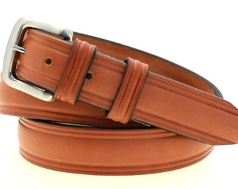 "Made In USA 1 1/4"" Men's Domed London Tan Bridle Leather Belt With Brushed Nickel Buckle"