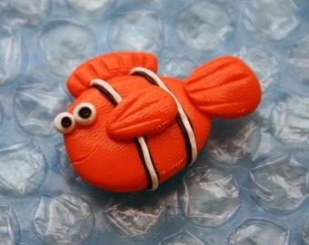 Clownfish Polymer Clay Flatback Bow Center
