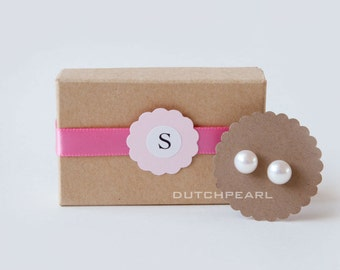 Bridesmaid Gifts Genuine pearl earrings monogram gift box wedding jewelry Dutchpearl gift for bridesmaids pearls studs