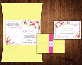 Pink and Yellow Wedding Invitations, Yellow Wedding Invitations, Bridal Shower Invitations, Floral Invitations, Hot Pink Wedding Invitations