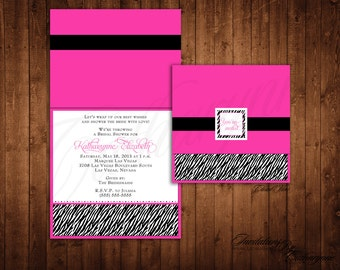Zebra Print Shower Invitations, Bridal Shower Invitation, Zebra Print Baby Shower, Hot Pink and Black Invitations, Zebra Birthday Invitation