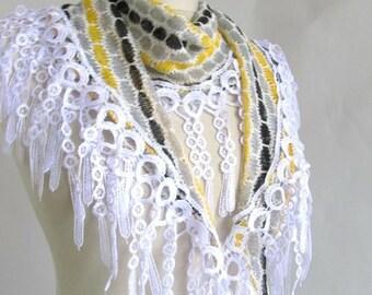 knitwear scarf  lace Scarf..infinity scarf-long scarf