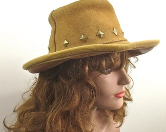 Vintage 1960's -1970's Brown Suede Studded Man's KULL Hat -Leather Hippie Hat sz SM