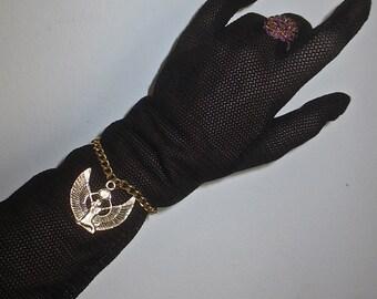 Vintage 1970's Winged Egyptian Sun Gold Tone Charm Bracelet-Queen Cleopatra Bracelet
