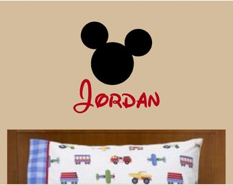 Mickey Mouse Wall Decal Custom Name Vinyl Wall Art