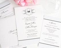Elegance Monogram - Vintage Wedding Invitation - Baby Blue, Classic, Antique, Formal Wedding Invitations - Sample Set