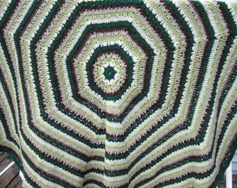 Octagon Blanket in Greens and Browns, Green and Brown Crochet Afghan, Home Decor, Gift for Mom, Throw for the Couch, Boyfriend Gift