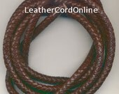 7 mm Braided  Leather Rope 2 Yards length Chokolate Brown
