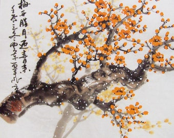 Cherry Blossom paintings Original  chinese  painting oriental art watercolour-Lovely cherry blossom tree No.86
