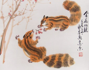 squirrel paintings Original  chinese  painting oriental art watercolour-squirrels with fruit No.5