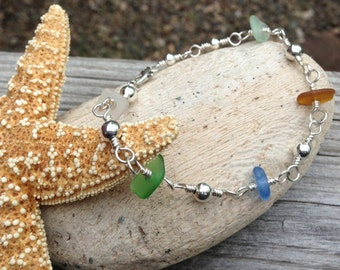 Sterling Silver Genuine Beach Glass Anklet