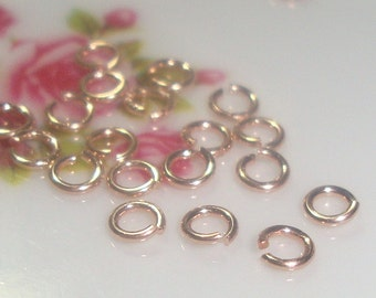 Rose Gold on Sterling Silver open jump rings, 100 pcs, 4mm, 22 gauge