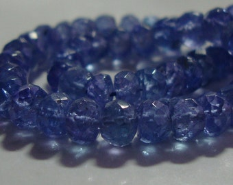 "3-3.5mm, 2"" strand, Natural Tanzanite, Genuine Translucent Periwinkle Tanzanite Faceted Rondelle"