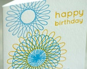 SALE - Happy Birthday Letterpress card - Spirograph