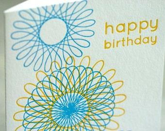 SALE - Happy Birthday Letterpress card - Spirograph