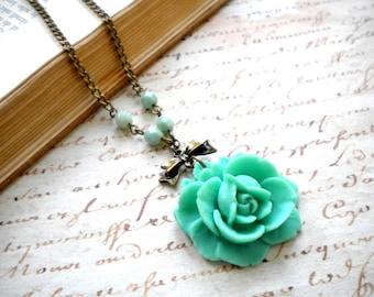 Flower Necklace Pendant Rose Necklace Turquoise Green Necklace Flower Jewelry Rose Pendant Necklace Turquoise Jewelry Summer Necklace