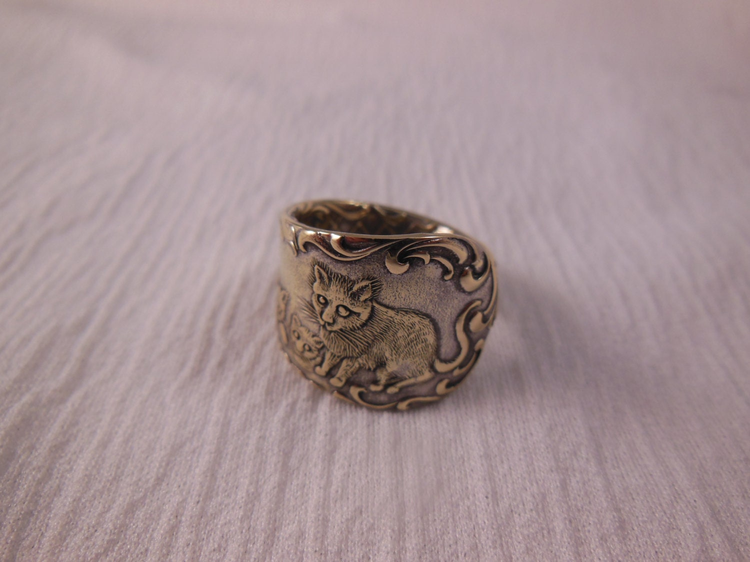 cat and kittens antique spoon ring size 7 and by