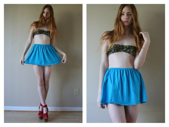 70s 80s Full Micro Mini Skirt Knit  Blue Cover Up California Babe High Waisted Size Extra Small-Small xs sm (000-00-0-2)