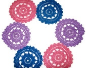 Colorful Crochet Doilies/Coasters Set Of 6