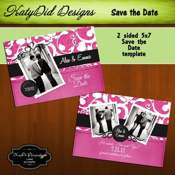 INSTANT DOWNLOAD Pink and Black Damask Horizontal 5x7 Save the Date Template/PSD file