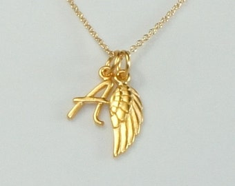 Gold Initial Necklace, Angel Wing Charm, Personalized Charm,Free US Shipping