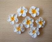 30 pcs Plumeria Frangipani Flower Polymer Clay Beads/Flatback 25mm