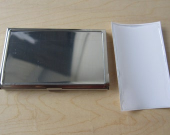 Blank Business Card Holder with Resin Sticker