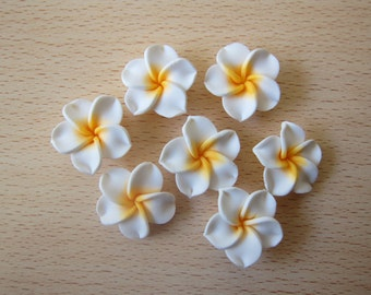 30 pcs Plumeria Frangipani Flower Polymer Clay Beads/Flatback 25mm