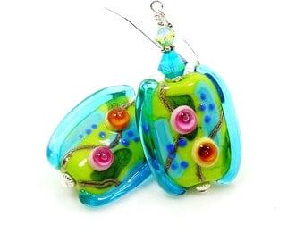 Abstract Earrings, Free-Form Earrings, Teal Blue Lime Earrings, Lampwork Earrings, Glass Bead Earrings, Beadwork Earrings, Unique Earrings