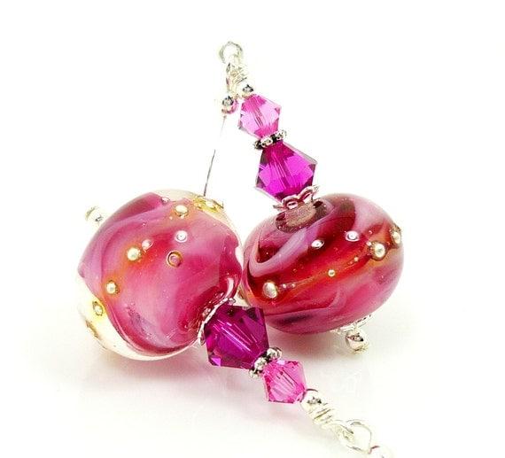 Hot Pink Earrings, Lampwork Earrings, Glass Earrings, Glass Bead Earrings, Beadwork Earrings