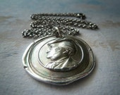 Richard Wagner. Composer. Wax Seal Necklace. Antique Style Wax Seal Jewelry in Fine Silver