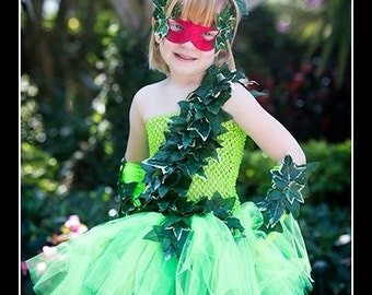 PRETTY LITTLE POISON Batman Villainess Poison Ivy Inspired Tutu Dress with Matching Headband, Gloves and Mask - Large 4-6t